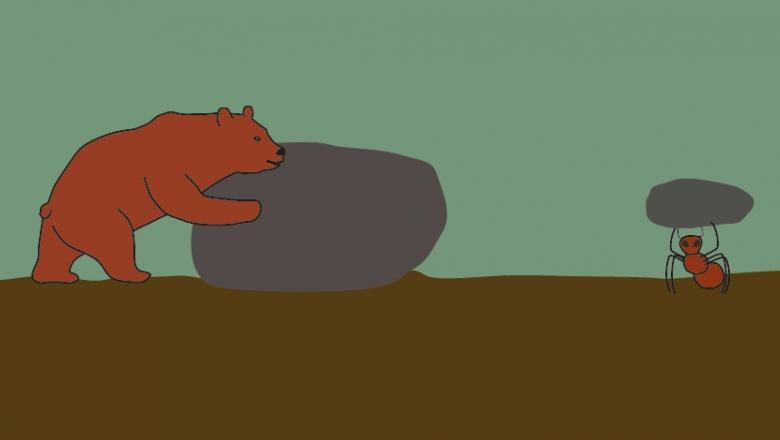 Piirros isoa kiveä työntävästä karhusta. Oikealla muurahainen kantaa päänsä yllä yhtä isoa kiveä.