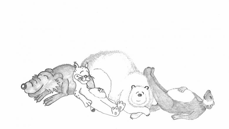 Piirros yhdessä kasassa makaavista ja hymyilevistä sudesta, karhusta, ahmasta ja ilveksestä.