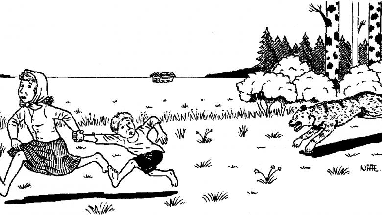 Piirroskuva, jossa äiti ja poika juoksevat avojaloin pakoon heitä jahtaavaa sutta. Äiti pitää poikaa kiinni kädestä.