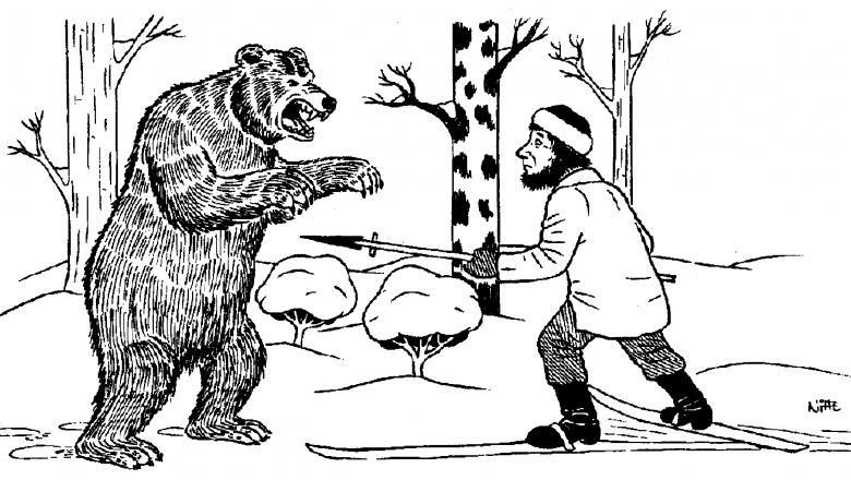 Piirroskuva, jossa vasemmalla takajaloilleen noussut karhu ja sen edessä hiihtäen liikkuva metsästäjä, joka osoittaa karhua karhukeihäällä.