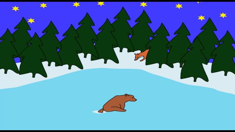Piirroskuva jäällä häntä avannossa istuvasta karhusta. Taustalla metsä, tähtitaivas ja kuusen takaa kurkistava kettu.