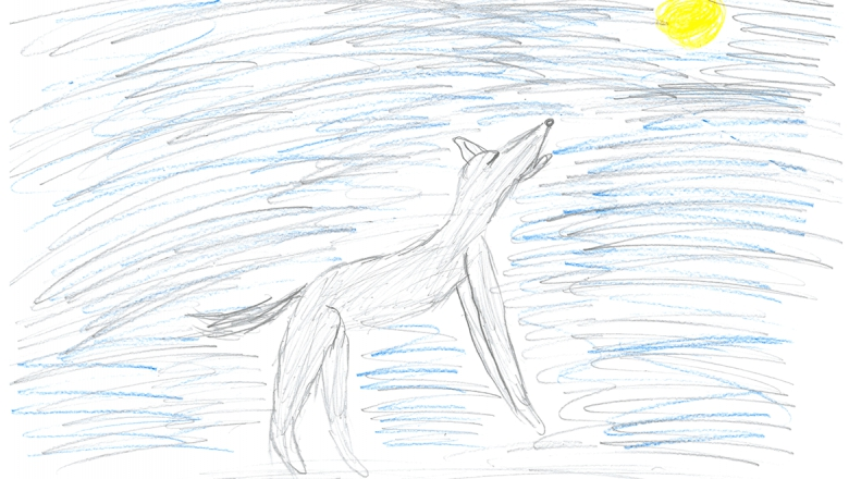 Lapsen piirros kuuta kohti ulvovasta sudesta.